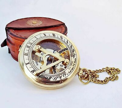 Pocket Compass Solid Brass Push Button Sundial Compass with Leather Case