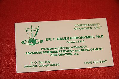 Business card from Dr T Galen Hieronymus