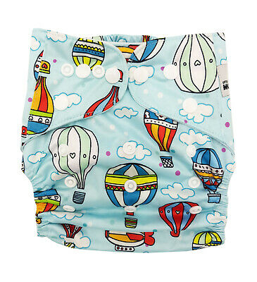 Modern Cloth Reusable Washable Baby Nappy & Insert Colourful Hot Air Balloons