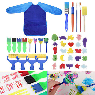 42PC Kids Sponge Painting Brush Paint Brushes Tool Set for Children Toddler Toys