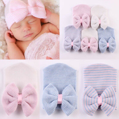 Newborn Baby Turban Head Wrap Kids Boy Girls Bow Beanie Hat Soft Cap For Kids UK