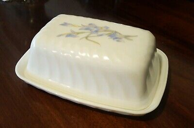 Vintage Arcopal Blue Floral Butter Dish And Lid Swirl Design 1970's