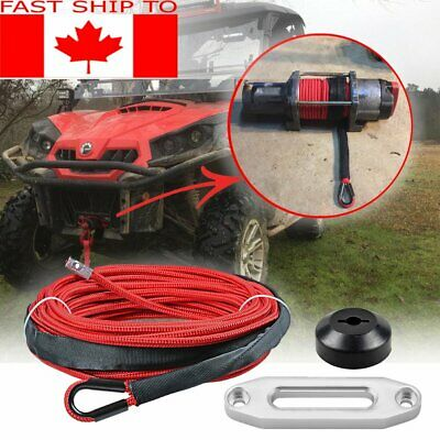"50' 1/4"" RED Synthetic Winch Rope 7000LBs Stopper Hawse Fairlead Car ATV UTV SUV"