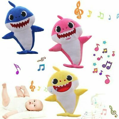 Stuffed Plush Singing Song Doll Shark Toys Music Cartoon English Baby Soft Gift