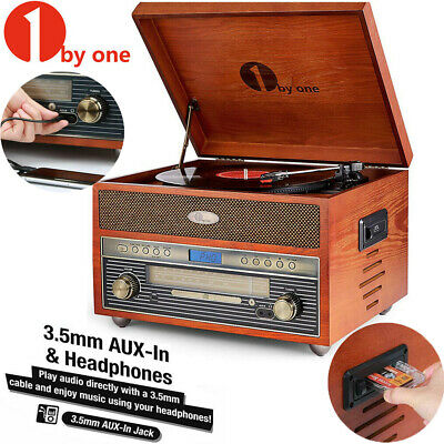 1byone Record Player 3-Speed Belt-Drive Turntable with Built-in Stereo Speakers