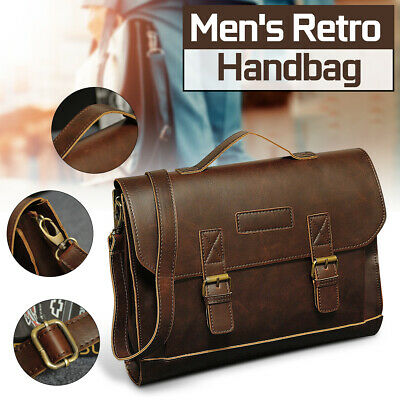 New Men PU Leather Briefcase Satchel Shoulder Handbag Business Messenger Bag