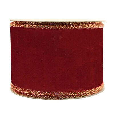 Ribbon Red Velvet 63mm x 10m with Wired Gold Edge