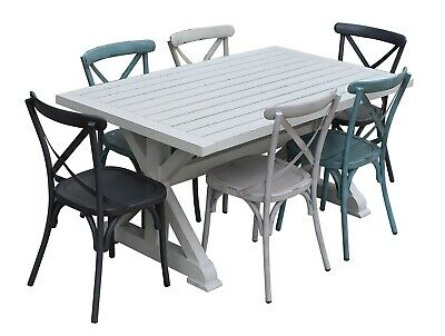 NEW Torquay 1.6M Aluminium Outdoor Table With 6 Cross Back Dining Chairs | Patio