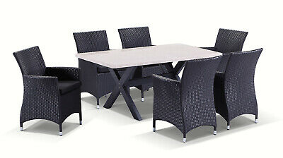 NEW Sicillian 6 Seater Outdoor Travertine Stone Top Dining Table + Wicker Chairs