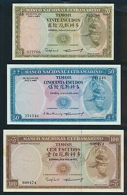 "Timor: 1963-67 20, 50 & 100 Escudos ""QUALITY SET OF 3"". Pick 26a-28a AUNC to UNC"