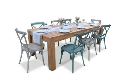 NEW Entertainer 2.5M Teak Table With 8 Crossback Chairs|Outdoor Dining Sets