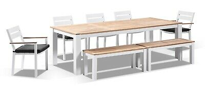 NEW Balmoral 2.5m Teak Top Aluminium Table w/ 2 Bench Seats + 5 Chairs | Outdoor