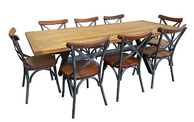 NEW Loft 8 Seater Rectangle Teak Timber and Aluminium Dining Table & Chairs Set