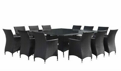 NEW Sorrento 12 Seater Square Outdoor Wicker Glass Top Dining Table & Chairs Set