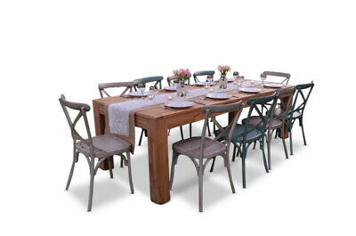 NEW Entertainer 2.5M Teak Table With 10 Crossback Chairs|Outdoor Dining Sets