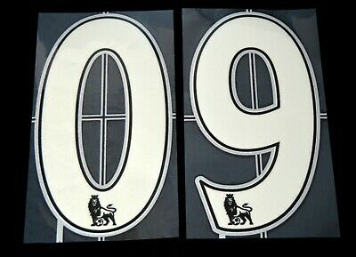 Official Premier League 2007/12 white Lextra  Football Shirt Numbers 0-9