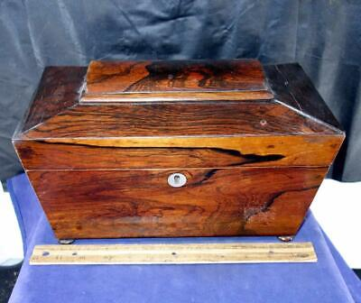 Antique 19th Century Rosewood Box Tea Caddy Mother Of Pearl !!