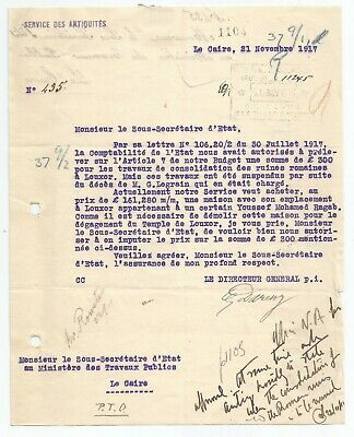 EGYPT ÄGYPTEN 1917 LETTER SIGNED BY FRANCE  Georges Émile Jules Daressy LOT 2