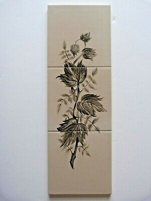 "Rare hand painted 3x6""sq tile panel by Packard & Ord, 1955"