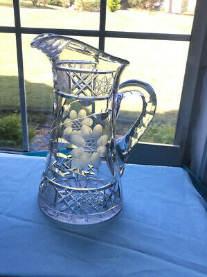 Vintage Antique Etched Floral Cut Glass Crystal Water Wine Pitcher Heavy