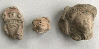Lot of 3 Ancient Teotihuacan Pre-Columbian Clay Idol Heads