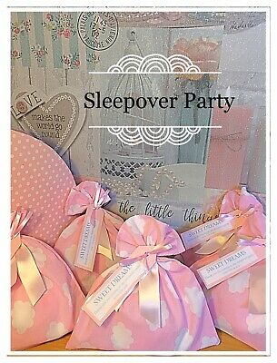 Luxury Girls Pink White Fabric Sleepover Birthday Party Gift Loot Bags Prefilled