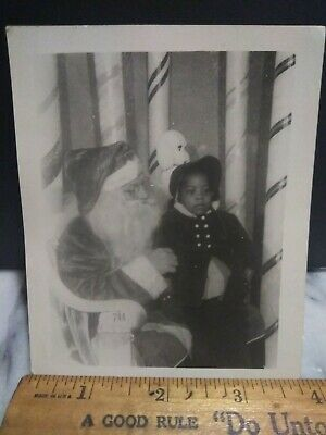 Rare Segregation African American little girl with white Santa