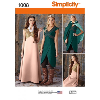 Simplicity Misses' Medieval Fantasy Costumes Fabric Sewing Pattern 1008
