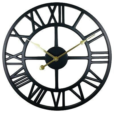 Wall Clock Black Roman Numerals Metal Skeleton Vintage Antique Round Face 39cm