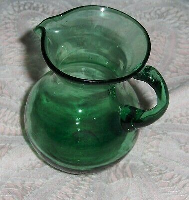Vtg Emerald Green Art Glass Pitcher Smooth Glass Hand Blown Creamer Bud Vase