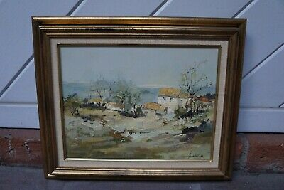 "Mid 19th Century Antique ""Provence"" Sokol French Oil on Canvas Painting"