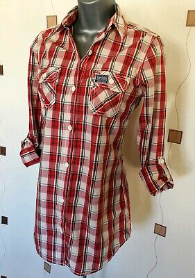 Super Dry Shirt Small S Red White Grey Check Plaid Cotton Top