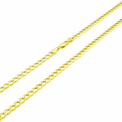 10K Yellow Gold 3.5mm Italian Cuban Curb Link Chain Necklace Lobster Clasp 20""