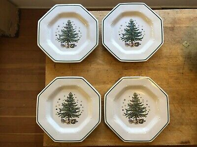 Nikko Classic Collection CHRISTMASTIME 4 Dinner Plates~Christmas Tree OCTAGON