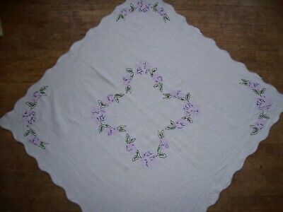 """vintage tablecloth embroidered linen purple and pink floral 38""""x38"""""""
