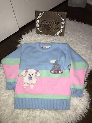 Vintage 80's 90's Little Girls Sweater Pink by Popsicle sz 6