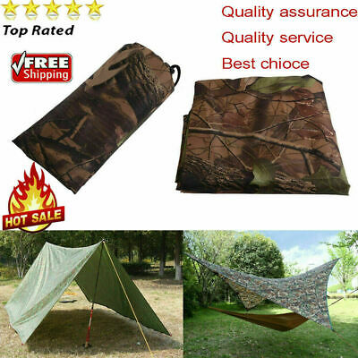 Waterproof Camo Tent Tarp Sheet Canopy Awning Rain Cover Camping Travel Shelter