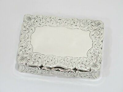 3.75 in - Sterling Silver Antique English Victorian Floral Snuff Box