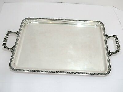 19.25 in European Silver Antique Continental Ornate Rim Handles Rectangular Tray