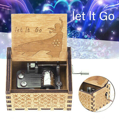 Let It Go Classical Hand Crank Engraved Wooden Music Box Toys Children Gift Kit