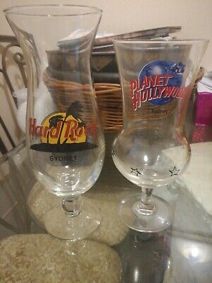 HARD ROCK CAFE & PLANET HOLLYWOOD SYDNEY - Collector Glasses 23.5cm & 21cm Tall
