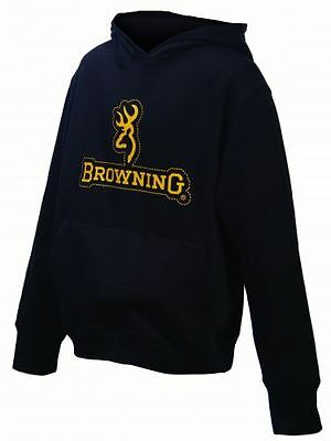 Browning Boys Girls Black Hoodie, Youth Stitched Hooded Sweatshirt Buckmark