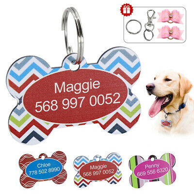 Pet Name ID Dog Tag Engraved Dog Cat Bone Type Customised Personalised