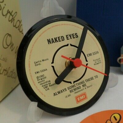 *new* NAKED EYES CLOCK -VINYL RECORD SINGLE  DESK / TABLE TOP DESIGN + STAND