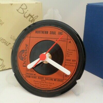 *new* NORTHERN SOUL INC CLOCK -VINYL RECORD SINGLE DESK TABLE TOP DESIGN + STAND