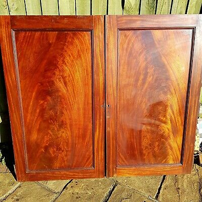 19th Century Large Mahogany Cabinet  Panels/ Doors
