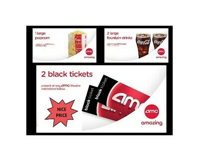 2 AMC Black Tickets (don't expire); 1 LARGE Popcorn & 2 LARGE Drinks (exp 06/20)
