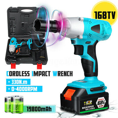 1/2'' 330Nm Cordless Impact Wrench Lithium-Ion Battery Rattle Gun Sockets