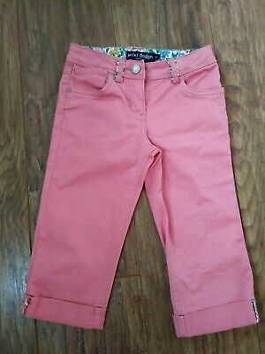 Girls Lovely Mini Boden Jean Style Trousers Pink Age 6-7 Years Adjustable Waist