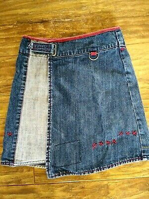 Girls Funky Fat Face Denim Skirt Casual Stripe Blue Red Age 8 Years Wrap Style